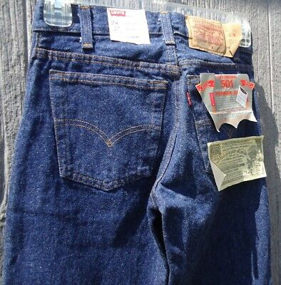 NOS Vtg 80s Levis 701 0115 Button Fly Student Fit 24 28 Blue Jeans Deadstock USA