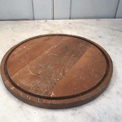 Vintage wooden circular clock dome base display stand plateau