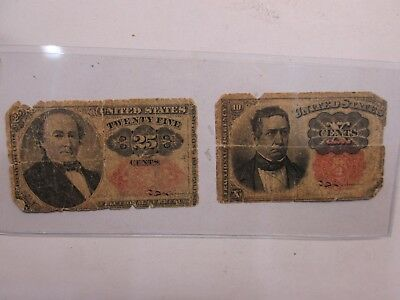 Two Us Fractional Currency Notes 25C & 10C