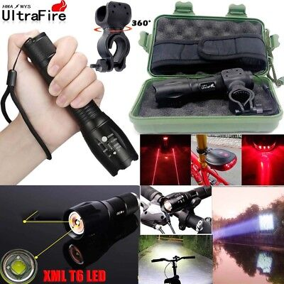 50000LM T6 LED ZOOMABLE Case Sports Light Bike LED 18650 Headlight Flashlight