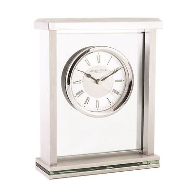London Clock Co 21cm Silber Flat Top Mantel Uhr