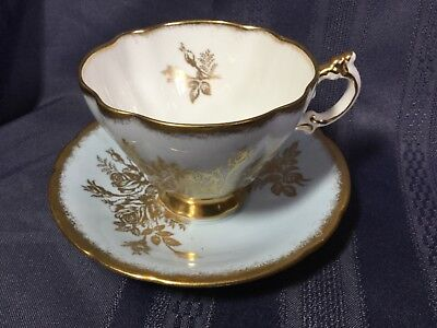 Paragon Bone China Cup And Saucer England      Pale Blue/gold