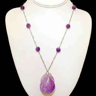 """Vintage Art Deco 14k White Gold Carved Amethyst Chinese Export Necklace Long 26"""""""