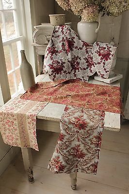 Antique  French fabric Project bundle pillow kit cutting piece madder brown
