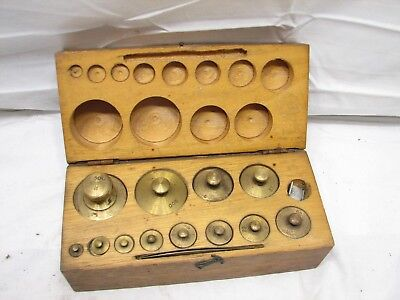 Eimer & Amend Brass Apothecary Pharmaceutical Scale Gold Weights w/Wood Box