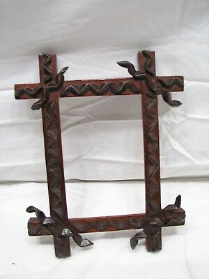 Antique Hand Carved Tramp Art Picture Photo Frame Folk Art Adirondack Wooden