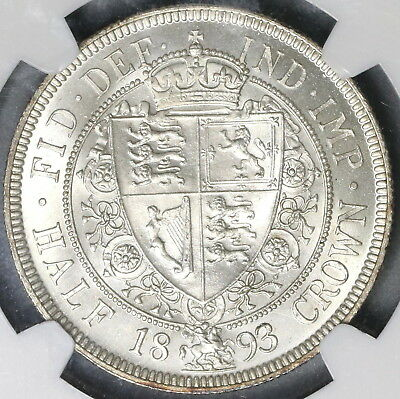 1893 NGC MS 63 Silver 1/2 Crown Victoria GREAT BRITAIN Coin (17062601D)