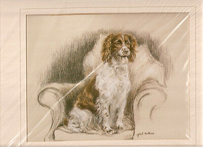 English Springer Spaniel LimitedEd Print Gill Evans Matted Chair OOP LAST ONE!