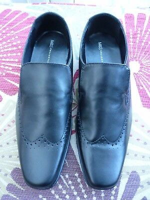 Men's Black Leather Slip On Shoes Size 8 Brand New From Marks & Spencer
