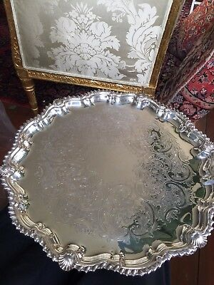 Antique English Victorian Silver Plate Footed Round Tray with Scalloped Edge – 1