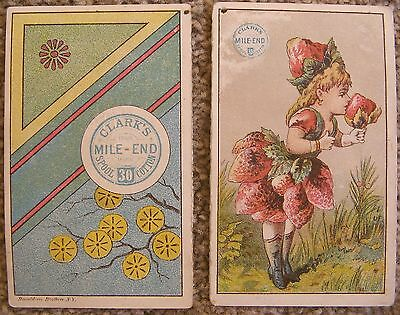 TRADE CARD Lot Of 2: 19th Century Victorian Clark's Mile-End Spool Cotton Oregon