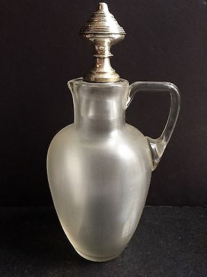 Antique Continental Threaded Glass Claret Jug Stopper Decanter Silver Hallmark