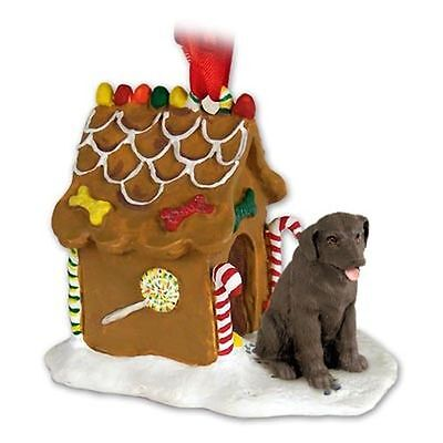 Labrador Retriever Chocolate Lab Dog Ginger Bread House Christmas ORNAMENT