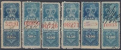 F-EX6251 CANADA REVENUE STAMP GAS INSPECTION RED NUMBER. 25c....4$.