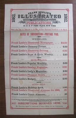 Antique 1882 Advertising Poster Sign FRANK LESLIE'S Illustrated Publications
