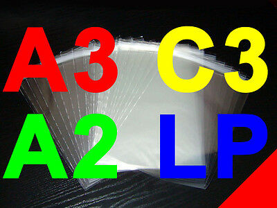 "SELF-SEAL CELLO BAGS - A2, A3, C3, 12"" LP, C4 (oversized A4), XL square"