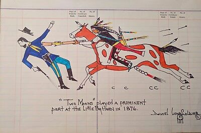 Daniel Long Soldier TWO MOONS, Cheyenne Chief, Little Big Horn,Original Painting