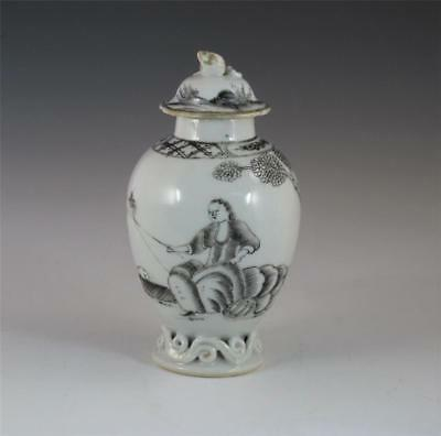 Antique 18Th C Chinese Porcelain European Subject Grisaille Tea Caddy Fisherman