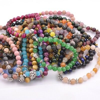 Wholesale Fashion 8MM Natural Gemstone Round Beads Lion Head Stretchy Bracelets