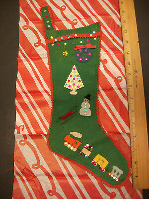 Vintage Handmade Felt Sequin Christmas Stocking