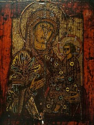 ANTIQUE RUSSIAN 19th CENTURY or EARLIER RELIGIOUS CHRISTIAN ICON PAINTING MARY