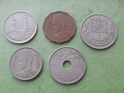 Lot Of 5 Old Egyptian African Coins 1917-1992