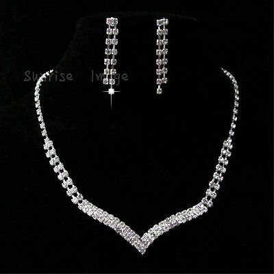 N029 Set Wedding Bridal Crystal Necklace Earring Prom GP Silver  Lover gift