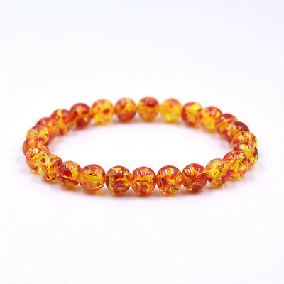 Fashion Amber Stone Round Bead Bracelet Elastic Stretch Bangle Bracelet 8MM 10MM