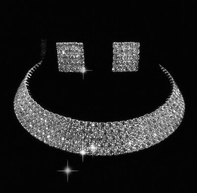 NR05 5Rows Party Wedding Bridal lady gift Jewelry set crystal necklace earring