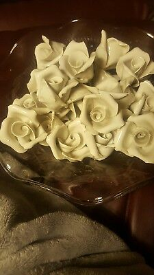 24 vintage white porcelain Italian roses for lamps or chandeliers, vintage 1960