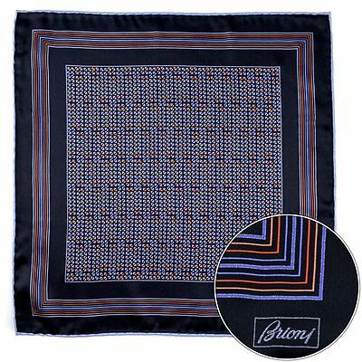 Men's BRIONI Navy Orange Silk Hand Rolled Pocket Square Handkerchief Hanky