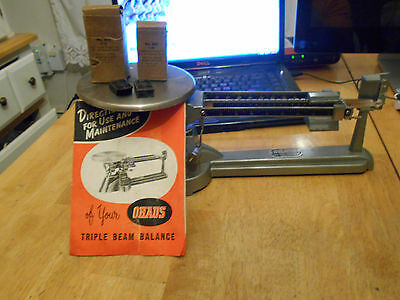 Rare Very Old  Ohaus Triple Beam Balance Model 850 S Orig Bx,instructs/nm Balanc
