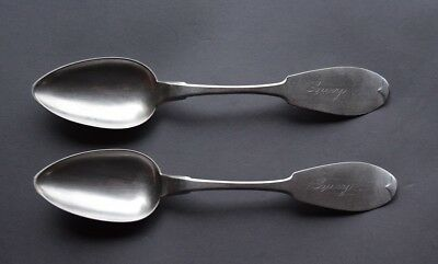 2 Large Circa 1850 C & S American Coin Silver Serving Spoons - 96 grams