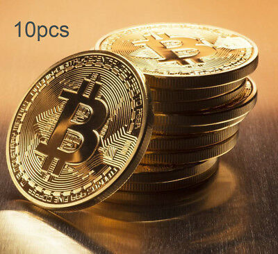 10pcs Gold Plated Physical Bitcoin in protective acrylic case FAST FREE SHIPPING