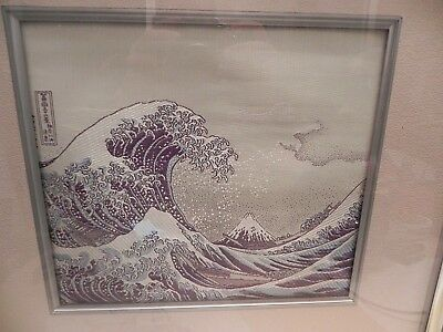 Vintage Japanese Embroidered Silk Tapestry Hokusai The Great Wave Framed & label