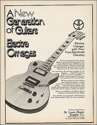 Electra Omegas Guitars 1976 ad 8 x 11 advertisement print ready to frame