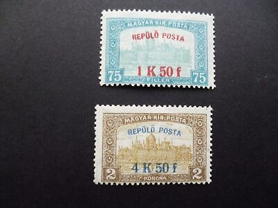 HUNGARY :- 1918 : SG271/2 Surcharged Airmail pair. Mint.