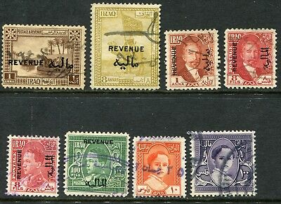 Iraq 1923-1948 Revenue stamps x8 different, all used
