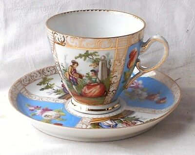 C18Th Meissen Marcolini Period Hand Painted Cup And Saucer With Picture Panels