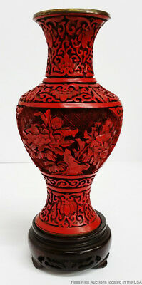 Vintage Chinese Republic Era Carved Cinnabar Lacquer 8in Baluster Brass Vase