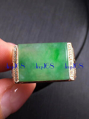 18K Gold Certified 100% Natural A Jade Oblong Egg Noodles Ring Jewelry JD1844