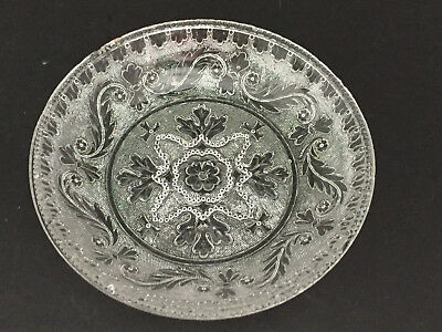 Antique Pressed Flint Boston and Sandwich Lacy Glass OAK LEAF Bowl c1830 7 1/8""