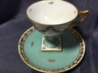 Limoges Hand Painted Tall Demi Cup And Saucer  France