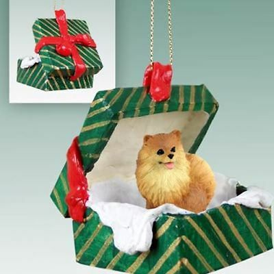 Pomeranian Red Dog Green Gift Box Holiday Christmas ORNAMENT