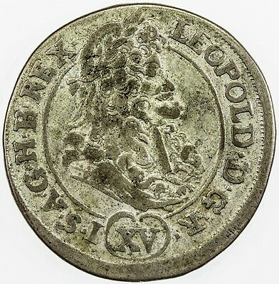 HUNGARY: Leopold I (the Hogmouth), 1657-1705, silver 15 krajczar, 1692-KB