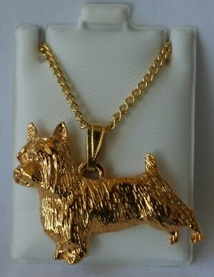 Silky Terrier Dog 24K Gold Plated Pewter Pendant Chain Necklace Set