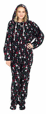 Adult Unisex Snowmen and Candy Canes Black Ugly Christmas Pajama Suit with Hood