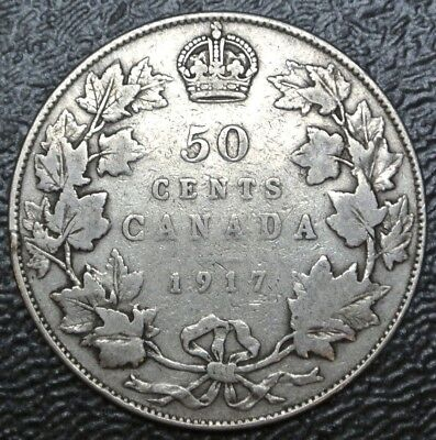 OLD CANADIAN COIN - 1917 - 50 CENTS - .925 SILVER - George V - WWI era - Nice