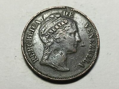 VENEZUELA 1858 raised Libertad 1 Centavo coin nice for wear but many rim nicks