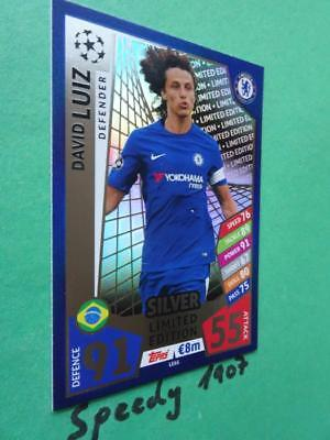 Topps Champions League 17 2018 limited Edition Luiz  Silver Match Attax LE6S